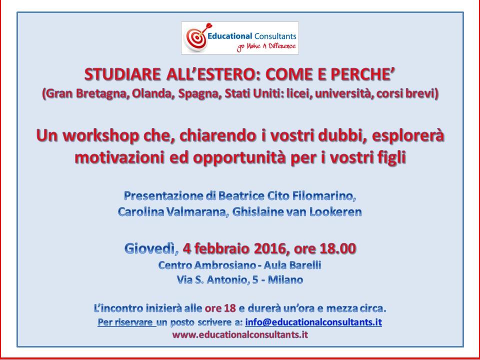 Invito Educational Consultants 4 febbraio 2016 Milano
